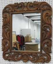 BAROQUE STYLE CARVED MIRROR. 31 X 26 1/2