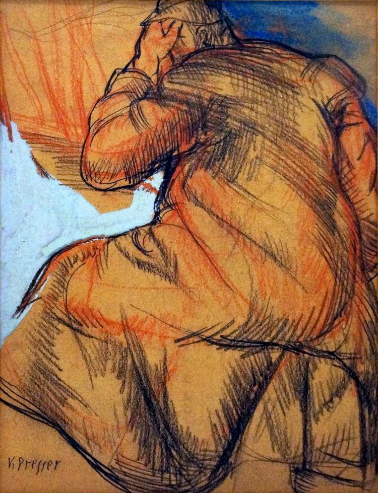 JOSEF PRESSER (AMERICAN/MASS/NY 1907-1967), GRAPHITE, CONTE CRAYON AND GOUACHE, FIGURE STUDY, SIGNED. SIGHT 10 1/4 X 7 1/2
