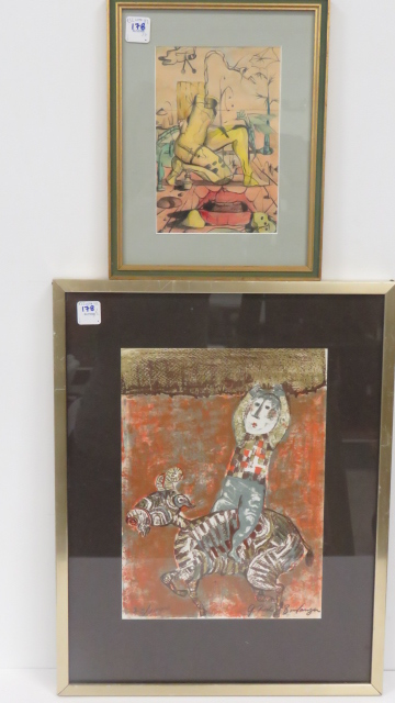 LOT (2) INCLUDING GRACIELLA RODO BOULANGER (FRENCH B.1935), LITHOGRAPH, SIGNED (IN PENCIL) AND NUMBERED AND GRAPHITE AND WATERCOLOR, SURREALIST WORK, BOTH FRAMED AND GLAZED
