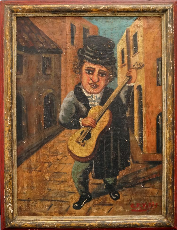SPANISH SCHOOL (20TH CENTURY) OIL ON CANVAS, STREET MUSICIAN, SIGNED C.F. VALLES. FRAMED 22 X 16