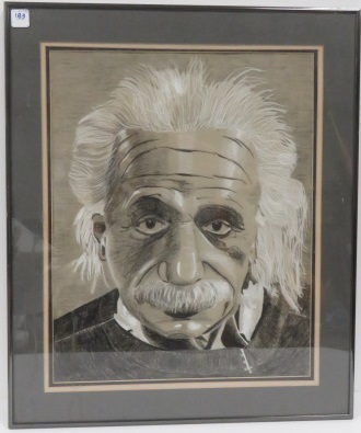AMERICAN SCHOOL (20TH CENTURY), CHARCOAL AND CHALK, ALBERT EINSTEIN, UNSIGNED. FRAMED AND GLAZED 24 3/4 X 20 3/4