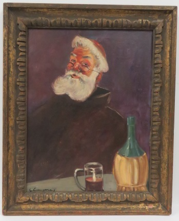 CONTINENTAL SCHOOL (20TH CENTURY), OIL ON CANVAS, THE MONK, SIGNED ILLEGIBLY. FRAMED AND GLAZED 32 1/2 X 26 1/2