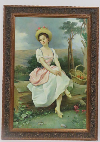 CONTINENTAL SCHOOL, GICLEE, YOUNG WOMAN. FRAMED