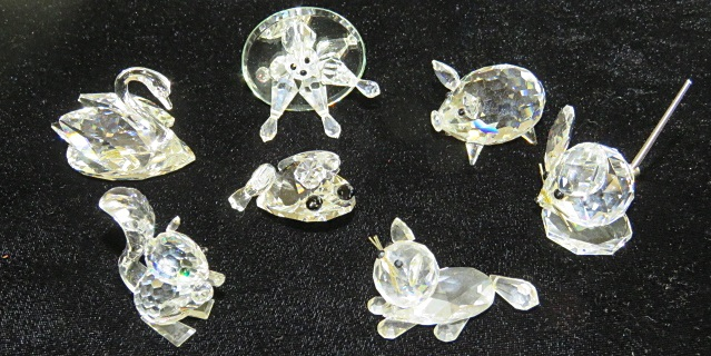 LOT (7) SWAROVSKI CRYSTAL ANIMALS INCLUDING PIG, SWAN, ETC (WITH ORIGINAL BOXES)