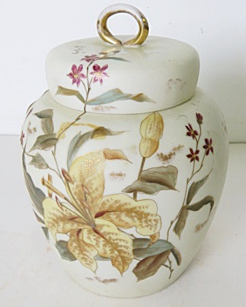AUSTRIAN DECORATED PORCELAIN GINGER JAR. HEIGHT 7 1/2