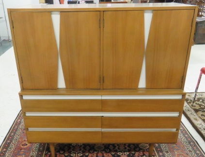 AMERICAN OF MARTINSVILLE MID-CENTURY MODERN CABINET. HEIGHT 45