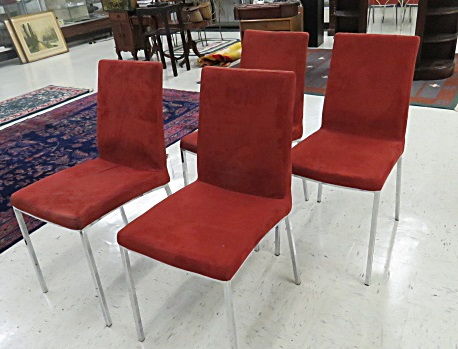 SET (4) B.O. CONCEPT DESIGNER CHROME STEEL MICRO SUEDE SIDE CHAIRS, SIGNED
