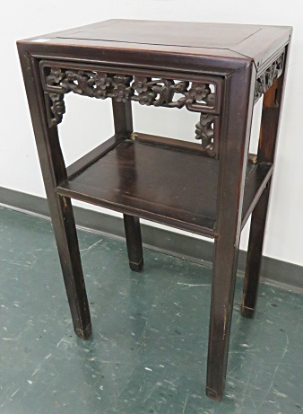 CHINESE CARVED ROSEWOOD STAND. HEIGHT 31