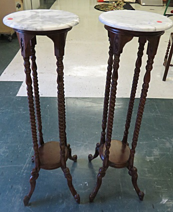 PAIR VICTORIAN STYLE MARBLE TOP PEDESTALS