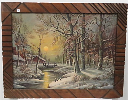 CONTINENTAL SCHOOL (20TH CENTURY), OIL ON CANVAS, MOONLIT WINTER LANDSCAPE, SIGNED J. KRINCHEMK
