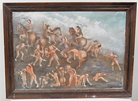 AMERICAN SCHOOL (20TH CENTURY), OIL ON CANVAS, INDIAN BATTLE, SIGNED VERSO CLARENCE ARMSTRONG. FRAMED 28 X 38
