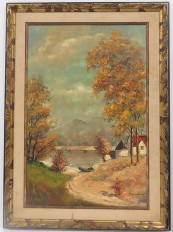 ITALIAN SCHOOL (20TH CENTURY), OIL ON CANVAS, LANDSCAPE WITH BOAT, SIGNED SARINO. 36 X 24