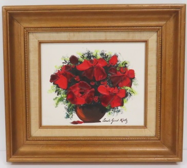 CAROLE GEST KATZ (AMERICAN 1941-2008), OIL ON BOARD, FLORAL STILL LIFE, SIGNED. 8 X 10