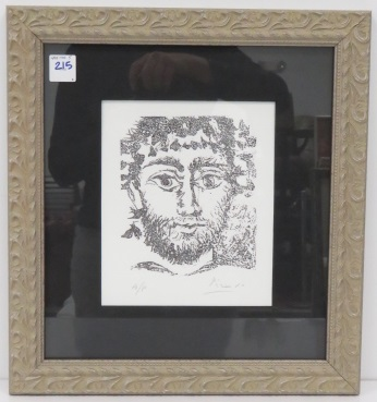 AFTER PICASSO, LITHOGRAPH, HEAD OF A MAN, SIGNED/HC. SIGHT 8 X 6 1/2