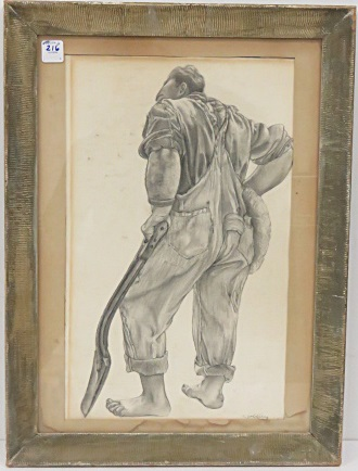 ELAINE GOLDBERG-GALEN (AMERICAN 1928-), GRAPHITE, STUDY OF A WORKMAN, SIGNED. SIGHT 17 1/4 X 10 1/2