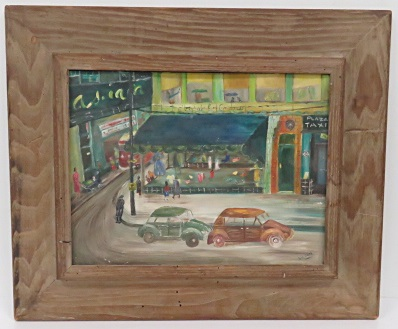 AMERICAN SCHOOL (20TH CENTURY), OIL ON CANVAS BOARD, STREET SCENE, SIGNED FREDDIE. 12 X 16