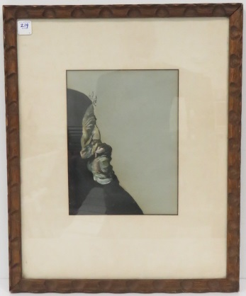 AMERICAN SCHOOL (20TH CENTURY), WATERCOLOR AND GOUACHE, GRIEVING WOMAN, UNSIGNED. FRAMED AND GLAZED 21 X 17