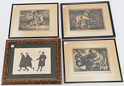 LOT (4) ASSORTED LITHOGRAPHS INCLUDING WILLIAM GROPPER, ALBERT PUCCI, UMBERTO ROMANO, J. HERR. FRAMED AND GLAZED-APPROXIMATELY 17 X 21