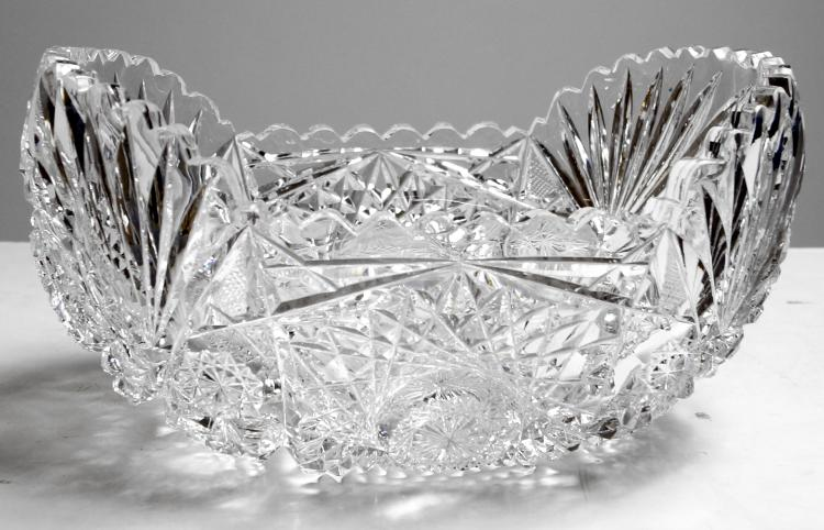 BRILLIANT CUT GLASS SHAPED OVAL BOWL. HEIGHT 4 1/4