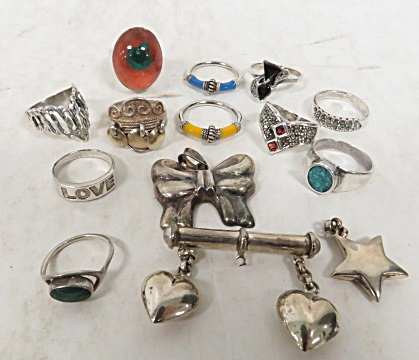 LOT (14) ASSORTED STERLING JEWELRY INCLUDING RINGS, PENDANTS AND PIN. GROSS WEIGHT 1.8 OZT