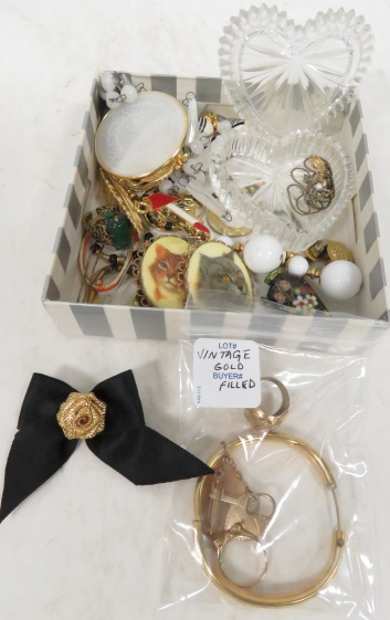 LOT ASSORTED COSTUME JEWELRY INCLUDING VINTAGE GOLD FILLED