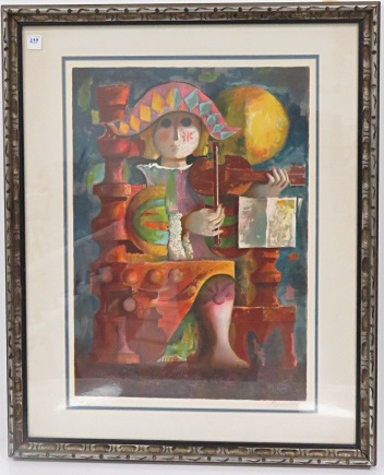 JORDI PLA DOMENECH (SPANISH 1917-1992), SERIGRAPH, THE VIOLIN, SIGNED #131/300. SIGHT 24 1/2 X 17