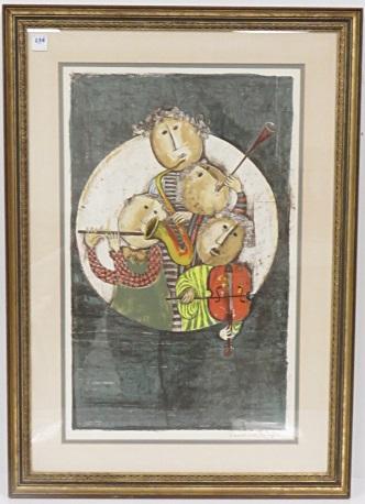 GRACIELA RODO BOULANGER (BOLIVIA 1935-), LITHOGRAPH, UNTITLED, SIGNED. SIGHT 25 X 15 1/2
