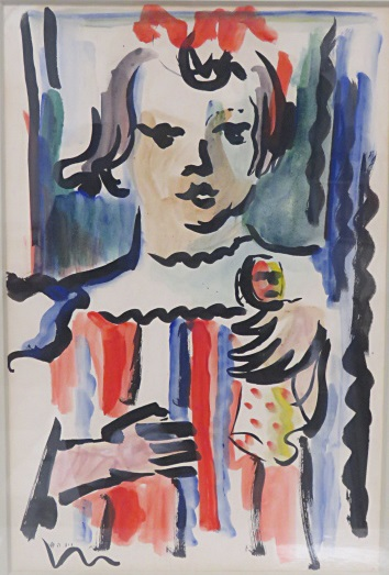 DAVID HENDLER (UKRAINE/ISRAEL 1904-1984), WATERCOLOR, CHILD WITH HER DOLL, SIGNED (HEBREW). SIGHT 19 X 12 1/2