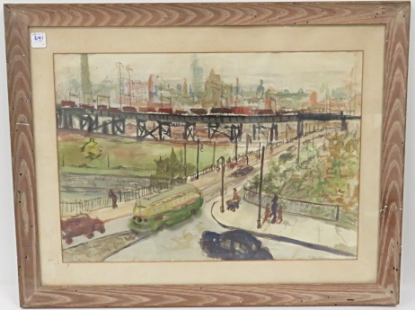 ELAINE-GOLDBERG GALEN (AMERICAN 1928-), WATERCOLOR, CITY SCENE, SIGNED. SIGHT 15 X 21