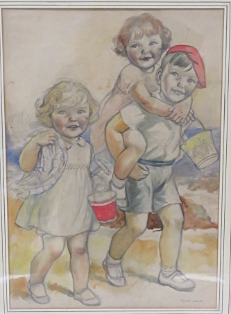 C.M. HOLT (AMERICAN 20TH CENTURY), GRAPHITE AND WATERCOLOR ON PAPER (DOUBLE SIDED ILLUSTRATION), CHILDREN ON A BEACH, SIGNED. SHEET 21 X 14 1/2