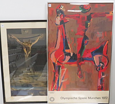 LOT (2) INCLUDING MARINO MARINI (ITALIAN 1901-1980), OFFSET LITHOGRAPH, 1972 MUNICH OLYMPICS, 40 X 25