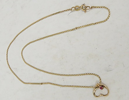 14K YELLOW GOLD HEART WITH MILIE RUBY WITH 14K YELLOW GOLD 16