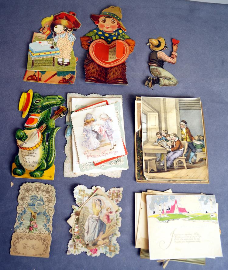 LOT ASSORTED VINTAGE GREETING CARDS, VICTORIAN CUTS, ADVERTISING, ETC