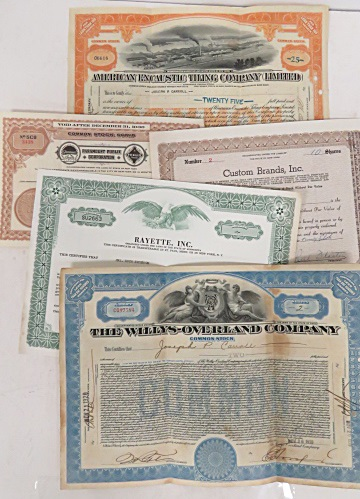 LOT STOCK CERTIFICATES, 1920-1960'S INCLUDING PARAMOUNT PUBLIX CORP., ETC