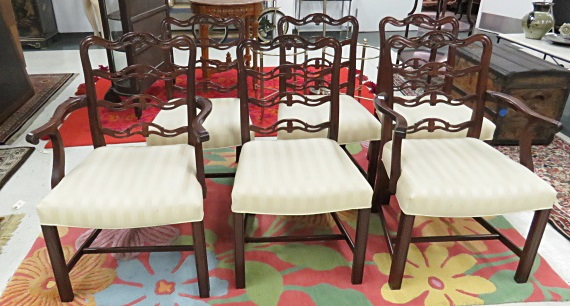 SET (6) CHIPPENDALE STYLE MAHOGANY RIBBON-BACK DINING CHAIRS