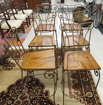 LOT (6) WROUGHT IRON/PINE BAR STOOLS