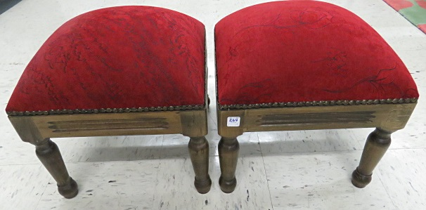 PAIR FRUITWOOD FOOT STOOLS. HEIGHT 16