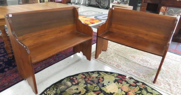 PAIR CARVED CHURCH PEWS. LENGTH 40 1/2