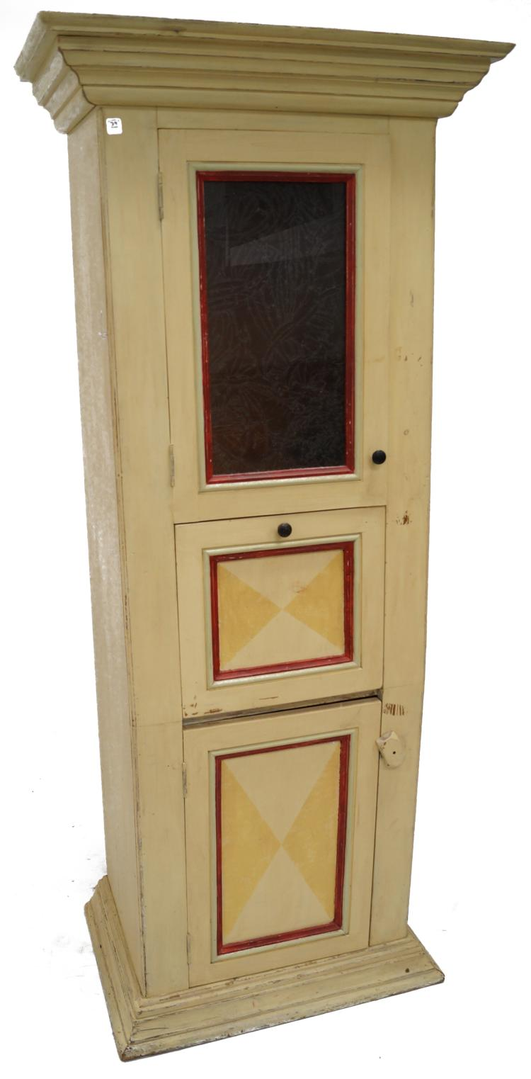 VINTAGE COUNTRY PRIMITIVE PINE PAINTED CABINET. HEIGHT 78