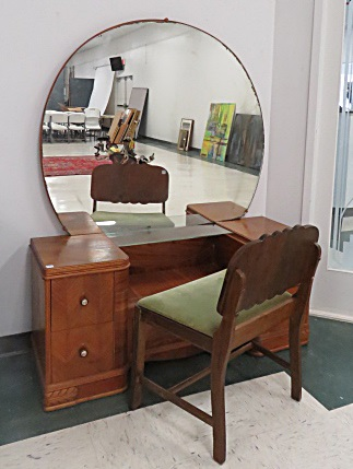 ART DECO CARVED MAHOGANY DROP FRONT DRESSING TABLE, HEIGHT 64