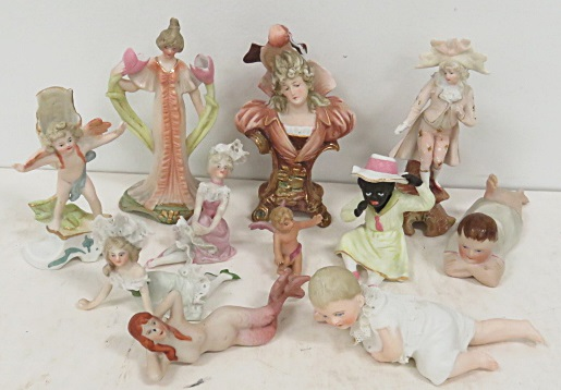 LOT ASSORTED MINIATURE BISQUE FIGURES INCLUDING BLACK FIGURES, BABY, FRENCH LADIES AND GENTLEMAN AND ART NOUVEAU FIGURE. 1 1/8