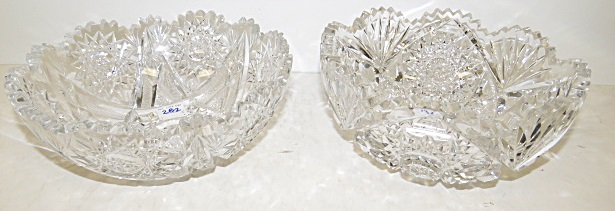 LOT (2) BRILLIANT CUT GLASS BERRY BOWLS. DIAMETER 8
