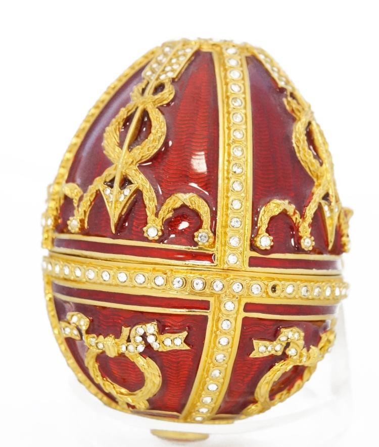 RUSSIAN FABERGE JEWELED RED ENAMELED EGG ON STAND WITH NECKLACE, UNSIGNED. EGG/HEIGHT 2 3/4