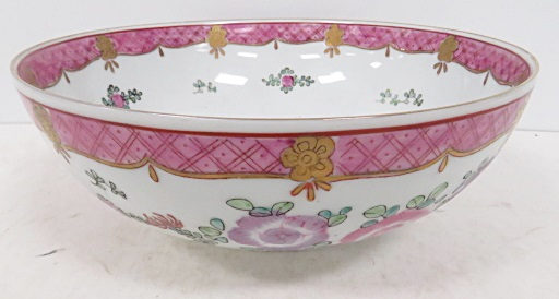 CHINESE EXPORT STYLE FLORAL LOWESTOFT PORCELAIN BOWL. DIAMETER 8 3/4