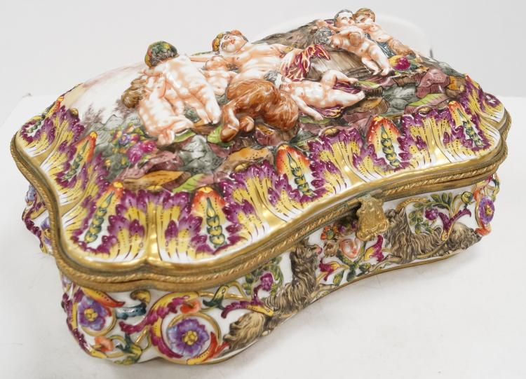 CAPO DI MONTE PORCELAIN COVERED JEWELRY CASKET WITH ORMOLU MOUNTS, 19TH CENTURY. HEIGHT 6
