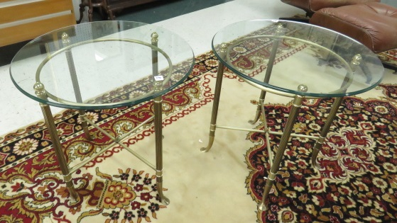 PAIR CONTEMPORARY BRASS SIDE TABLES WITH GLASS TOPS