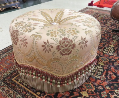 DESIGNER UPHOLSTERED TUFFET. HEIGHT 16