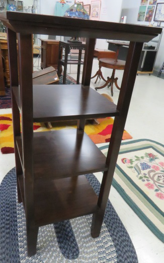 MID-CENTURY STAINED PINE STAND WITH (3) SHELVES. HEIGHT 43