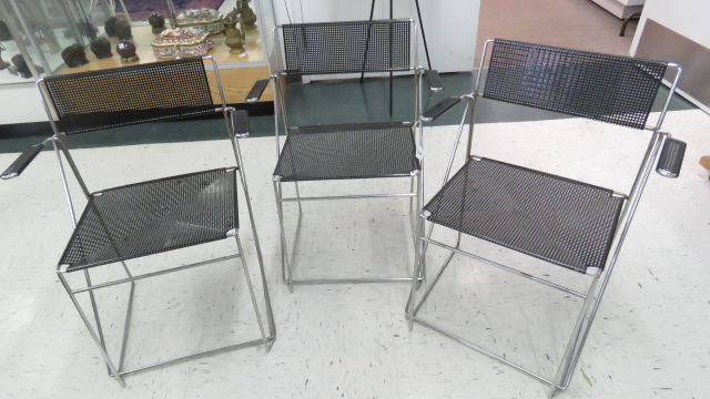 LOT (3) DESIGNER MODERN CHROME STEEL STACKING ARMCHAIRS