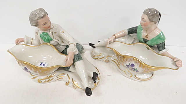 PAIR ROYAL CERAMIC ART CO. HAND PAINTED CONTINENTAL FIGURAL DISHES. HEIGHT 6 1/2